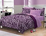 My Room Zebra Purple Ultra Soft Microfiber Comforter Sheet Set, Multi-Colored, Queen