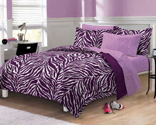 - My Room Zebra Purple Ultra Soft Microfiber Comforter Sheet Set, Multi-Colored, Full