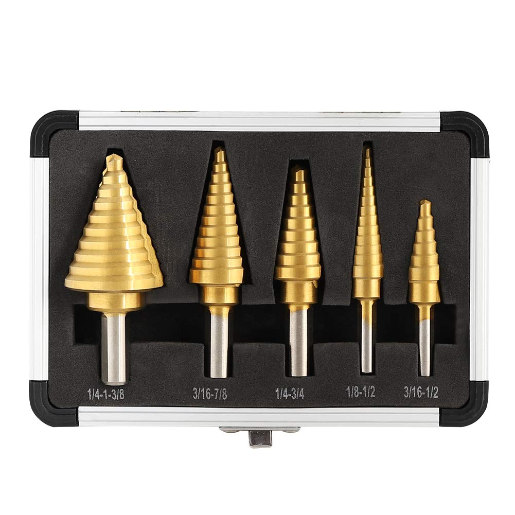 Step Drill Bit Titanium Coated by COMOWARE- 5 Pcs HSS Short Length Drill Bits Total, 50 Sizes