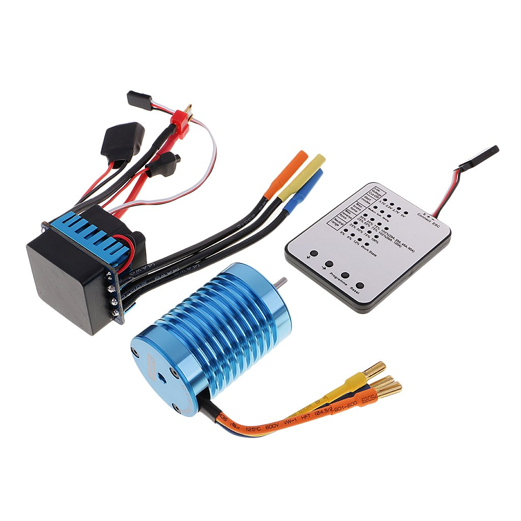 Sharplace 45A ESC W LED Tarjeta de Programa 3930KV Sensorless Brushless Motor para 1/10 RC Coches