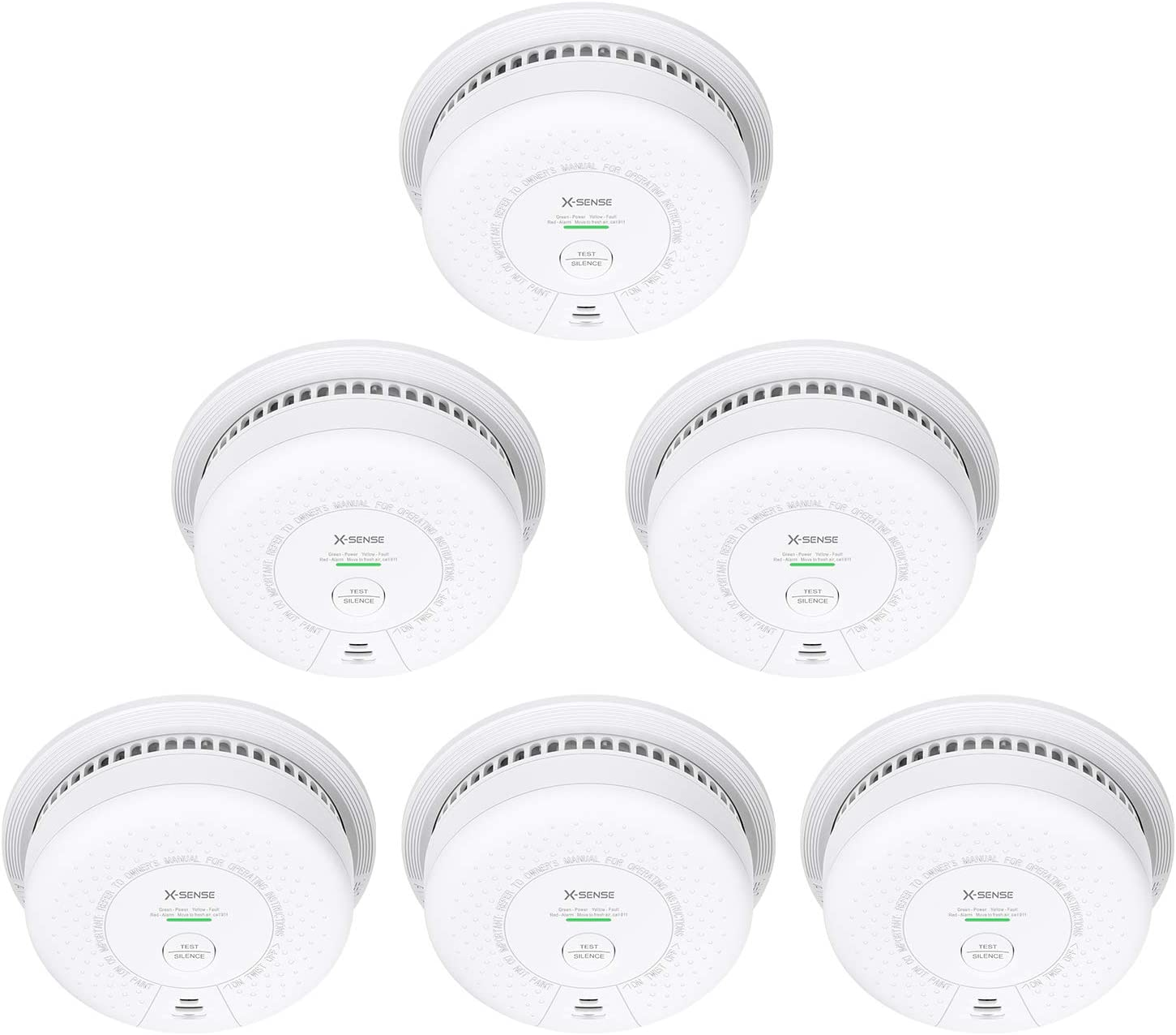 X-Sense Smoke Alarm (Not Hardwired), 10-Year Lithium Battery Fire Alarm with Photoelectric Sensor, Compliant with UL 217 Standard, Auto-Check & Silence Button, SD03 (6-Pack)