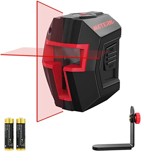 Meterk 15 M Autonivelante Nivel L/áser Cruzado a prueba de polvo con un soporte con Doble L/áser M/ódulo 360/° Rotaci/ón Bolsa Nivel L/áser