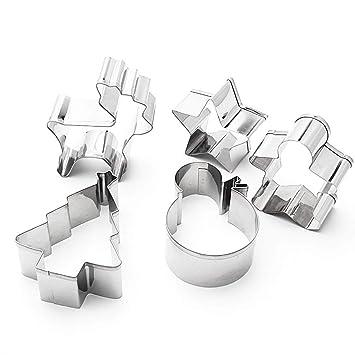 GOODFEER - 5 moldes para Galletas de Navidad, diseño de Estrella, Pan de Jengibre, árbol de Navidad, Reno, muñeco de Nieve: Amazon.es: Hogar