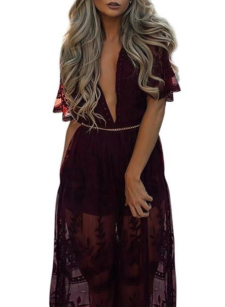 ACHICGIRL Mujer Vestido de Fiesta de Encaje Cintura Alta Mangas Cortas Cuello V Profundo,rojo