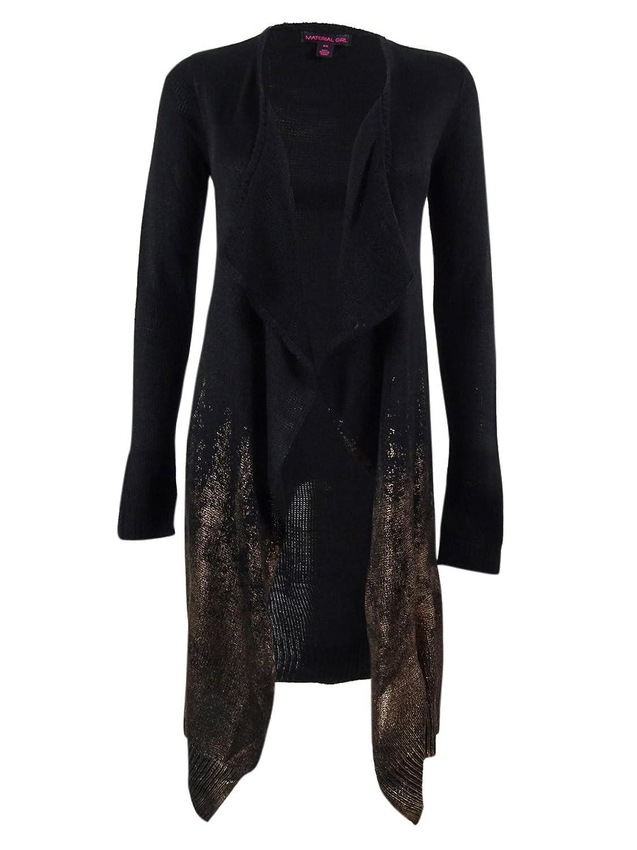 Material Girl Juniors' Long Foil Print Cardigan Sweater