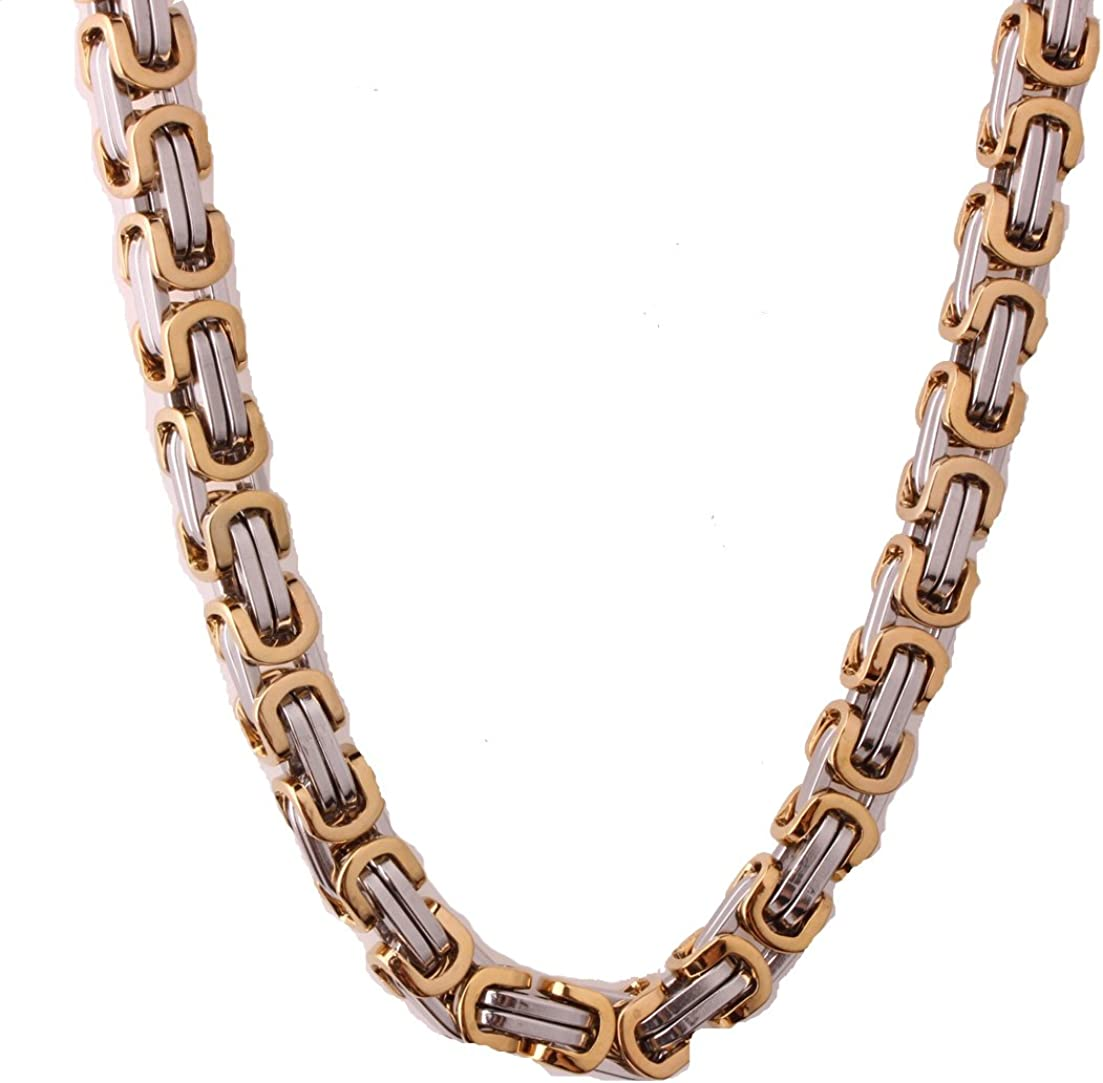 MUYING JEWELRY 4//6//8MM Silver Gold Tone Stainless Steel Handmade Byzantine Link Chain Mens Womens Bracelet Or Necklace 7-40inches