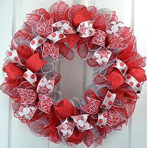 Red Christmas Wreath | Silver Christmas Wreath | Mesh Christmas Front Door Outdoor Wreath 104
