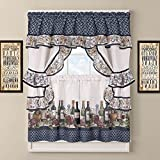 UNKN 3pc 24 Chateau Blue Window Curtain Cottage Set, Polyester, White Background Graphic Pattern Wines Printed Lodge Cottage Motifs Antique Country Vintage Traditional Colorful Frills Vibrant