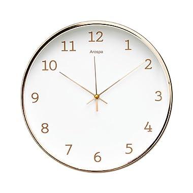"Arospa Luxury Modern 12"" Silent Non-Ticking Wall Clock with Rose Gold Frame (Feminine White)"