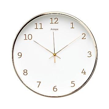nice looking modern wall clocks amazon. Luxury Modern 12  Silent Non Ticking Wall Clock with Rose Gold Frame Feminine Amazon com