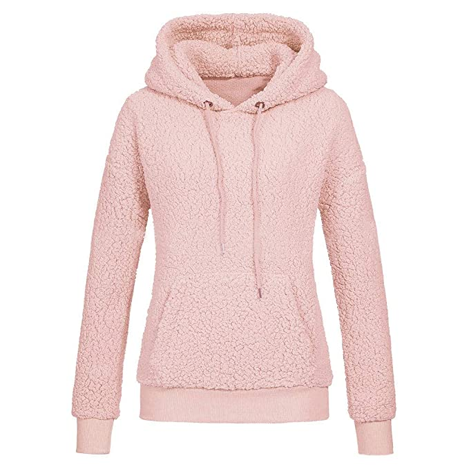 f0aa89188b601 Clearance KEERADS Women s Sweatshirts Fleece Pullover Hoodie Warm Winter  Faux Fur Coat Jacket  Amazon.co.uk  Clothing