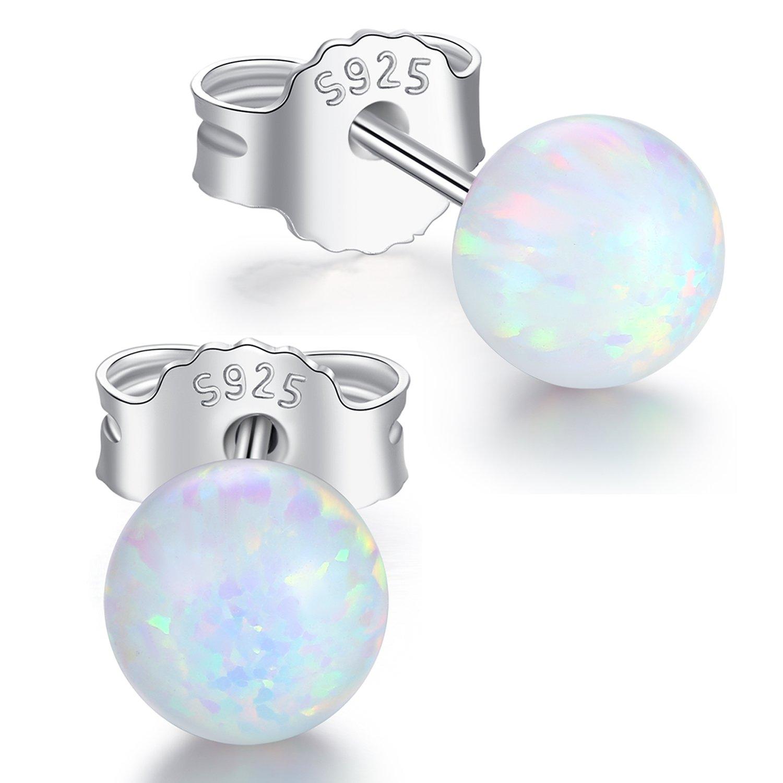 Desimtion 925 Sterling Silver 6MM Ball Opal Stud Earrings for Women sensitive ears