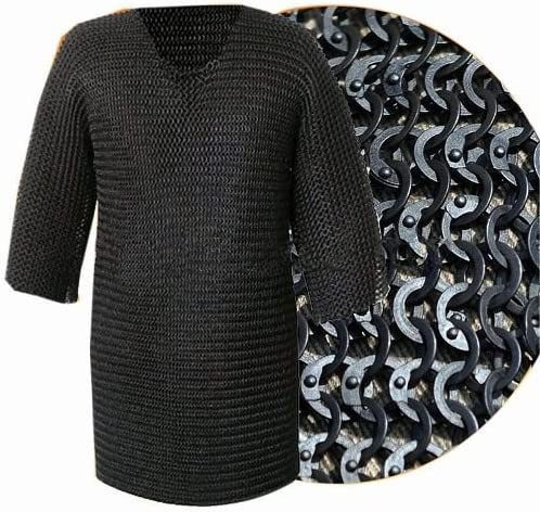 Chainmail hood with cotton padded coif black flat riveted 9 mm ring 17 gauge steel