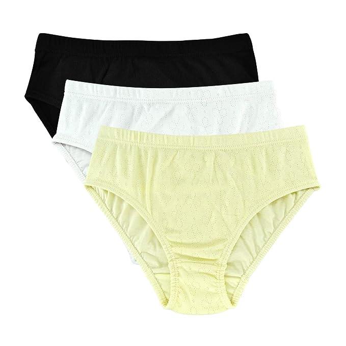 e6cbf07f4e5 Knitlord Women's Underwear Briefs 100 Cotton Bikini Comfort Hollow Jacquard  Panties 3 Pack (S,