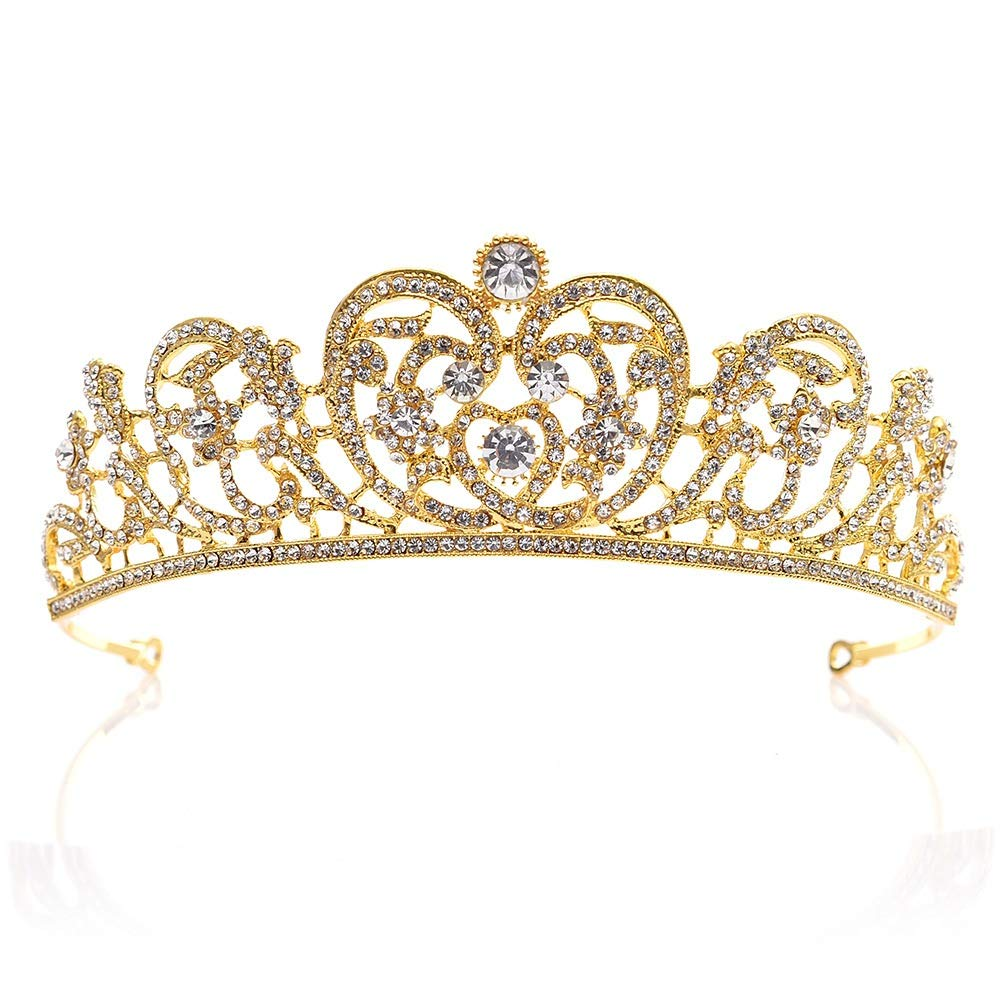 Color : Gold, Size : 15 * 4.8cm Kuingbhn Corona de la Novia Hermosa Boda Nupcial Brillante Cristal Rhinestones Corona Tiara Diadema Banda para el Cabello Reina Corona