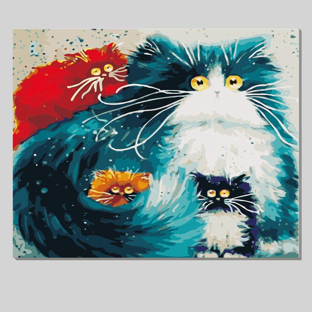 iCoostor Wooden Framed Paint by Numbers DIY Acrylic Painting Kit for Kids & Adults Beginner - 16'' x 20'' Four Color Cat Pattern with 3 Brushes & Bright Colors... by iCoostor
