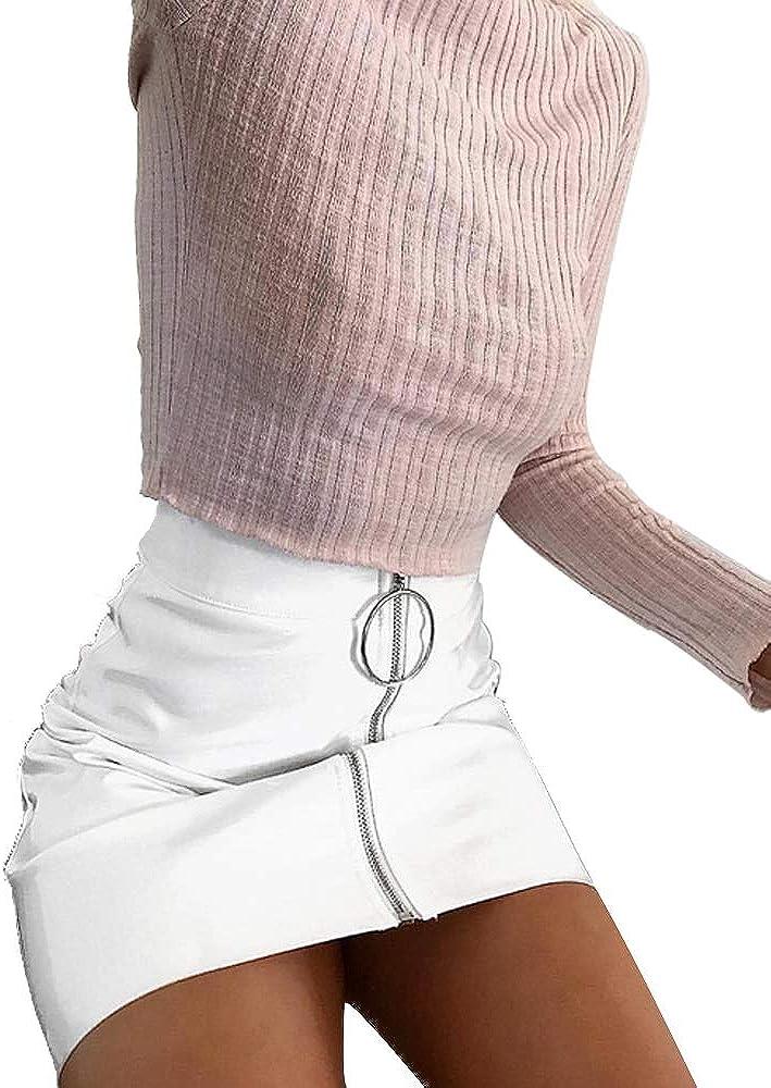 Greetuny 1pcs Falda de Cuero con Cremallera Moda PU Falda Tubo Mujer Cintura Alta Sexy Mini Faldas,Blanco/Rosa/Rojo/Amarillo