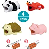 Newseego Compatibile iPhone Cavo Cord Protector Caricabatterie Saver Cavo Chewers Cavo Cute Animal Bite Cable Accessory Protegge - 4 Pack (Riccio, Maiale Rosa, Panda, Formica)