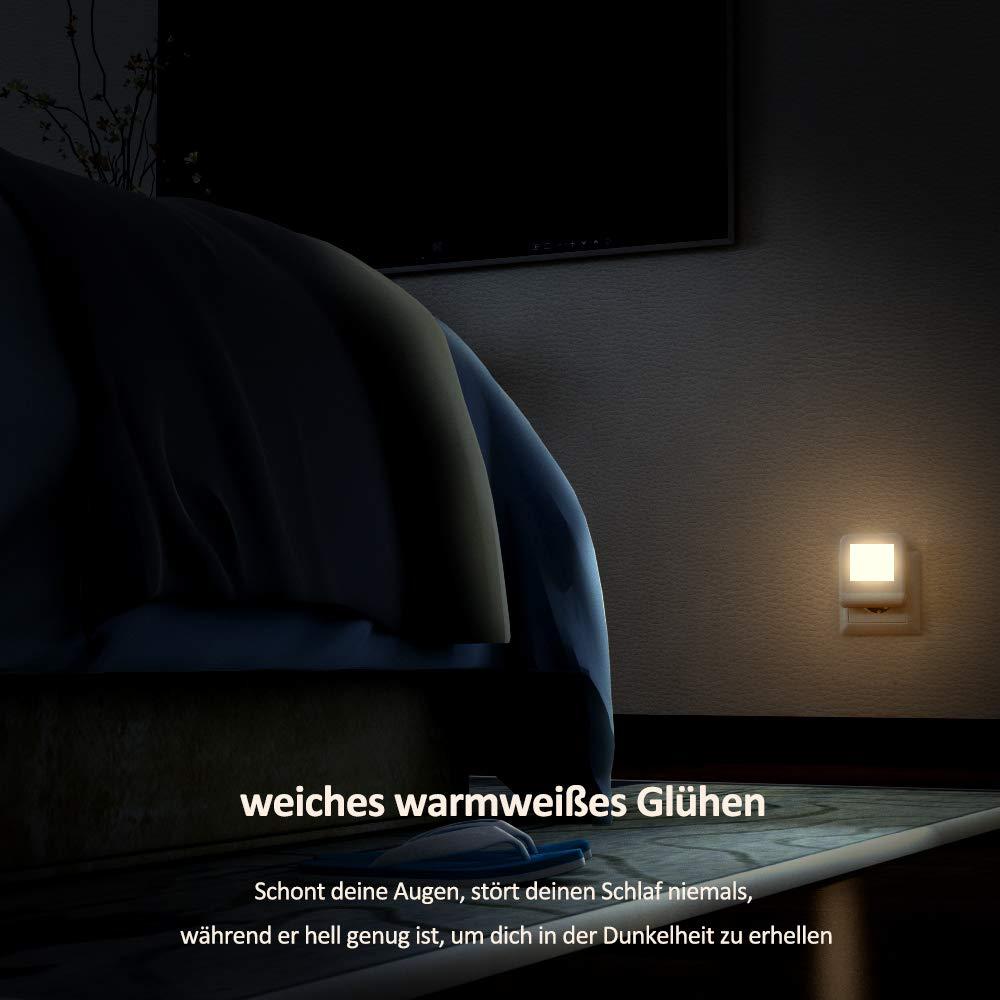 Flur K/üche mehrere Farbwechsel Nachtlichter f/ür Mitternacht Bequemlichkeit 2 St/ück Schlafzimmer Steckdose LED Nachtlicht mit D/ämmerungssensor Kinderzimmer