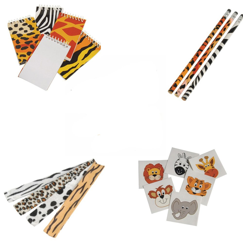 Safari Wild Animal Toy Party Favor Supplies 180 Piece Set for 12 Bundle