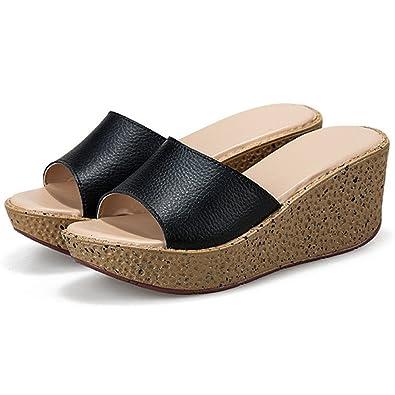 0199e86d1d20 Hanxue Women s Platform Wedge Slip On Flat Flip Flops Sandals Black US 6(EU  37