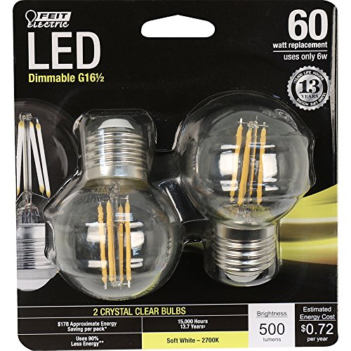 Feit Electric BPGM60/827/LED/2 Decorative Clear Glass Filament LED Dimmable 60W Equivalent Globe Bulb (Pack of 2), Soft White