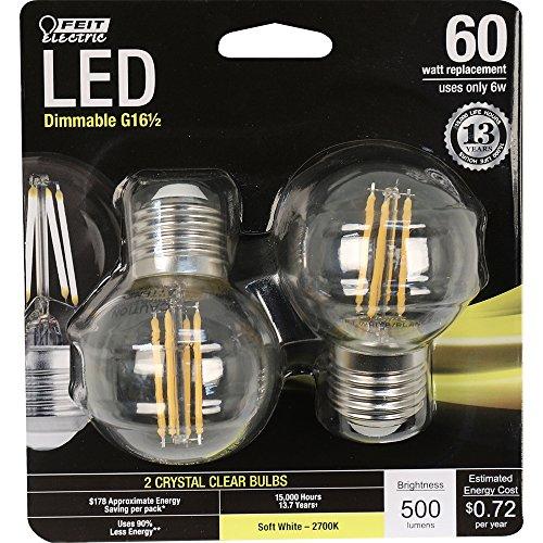G16.5 Led (Feit Electric BPGM60/827/LED/2 60W Equivalent Clear G16-1/2 Globe Dimmable Med Base LED Light Bulb (2 Pack), Soft White)