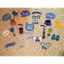 Baby Shower Photo Booth Props, 29 pcs Attached To The Stick, NO DIY REQUIRED, Its a boy, Baby Shower Decoration, Party Photo Booth, USA-SALES Seller