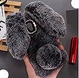 ZenFone 5Lite ZC600KL Soft Villi Case, Very Light Slim Fluffy Rabbit Manual Wool Ear Tail Style Warmer Winter Hand Cover, WEIFA 2018 Newest Super Luxury CellPhone Case For ZenFone 5 Lite DGray