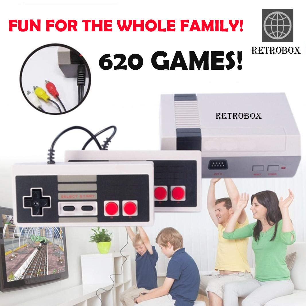 Retro Classic Game Console Retro Childhood Game Classic Game Consoles Built-in 620 Childhood Classic Game Dual Control 8-Bit Console Handheld Game Player Console for Classic Games Family TV Video by RetroBox (Image #9)