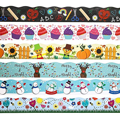 Holiday Bulletin Borders Classroom Trimmers for School (6 Styles x 39 Feet Each)