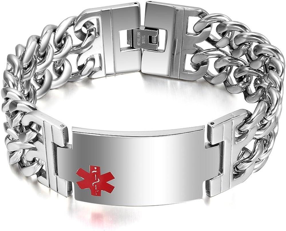 "VNOX Free Engraving-Men's Medical Alert ID Wide Large Bracelet Stainless Steel Wrist Link Chain,8.3""/8.9"""