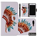 iPhone 7 Plus Case, M-Zebra iPhone 7 Plus Wallet Case [Wallet Function] Flip Cover Leather Case for Apple iPhone 7 Plus (2016), with Screen Protectors (Indian Headdress)
