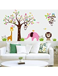 Amaonm® Cute Cartoon Colorful Forest Animals Wall Decals Elephant Monkey Lion Giraffe Owls Wall Sticker Murals Peel Stick Removable Wall art Decor For Kids Room Playroom Bedroom