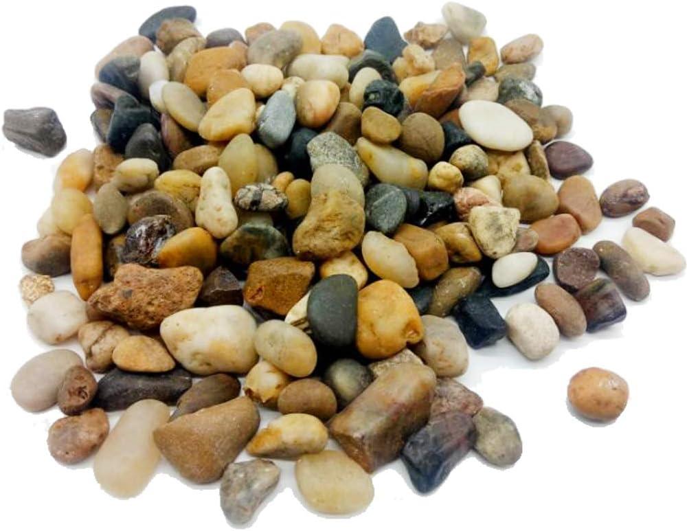 Filler Aquarium Decor Polished Pebble Stones,Decorative Mixed Color River Rocks,Natural Cobblestone,Gravels,3/8 Inch,5 Pounds for Fish Tank,Fountain,Garden,Succulent Plants,Soil Cover