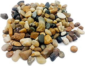 Filler Aquarium Decor Polished Pebble Stones,Decorative Mixed Color River Rocks,Natural Cobblestone,Gravels,3/8 Inch,5 Pounds for Fish Tank,Fountain,Garden,Succulent Plants,Soil Cover