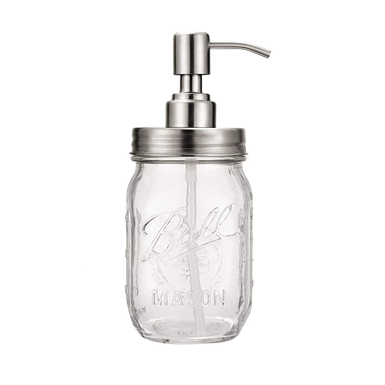 Products Mason Jar Soap Dispenser - Silvery - with 16 Ounce Ball Mason Jar - Made from Rust Proof Stainless Steel [Clear Glass]