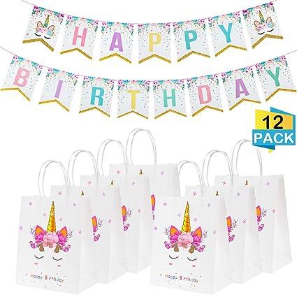 Amazon.com: 12 bolsas de regalo de unicornio y unicornio ...