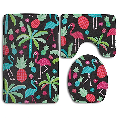 Paradise 3 Piece - WeiGin Tropica Flamingo Birds Pineapples Paradise 3 Piece Bathroom Rug Set Non-slip Bath Mat Contour Rug Toilet Lid Cover Home Decorative Doormat