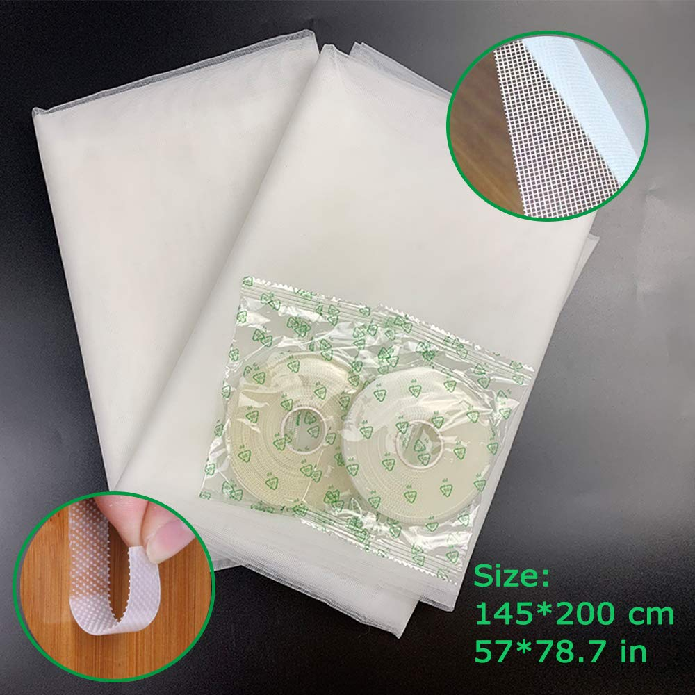 White 2 Pack Insect Screen Net for Windows with 4 Rolls Self-Adhesive Tapes 2.0m x 1.5m Fly Bug Insect Screen Mesh Mosquito Protector Kit