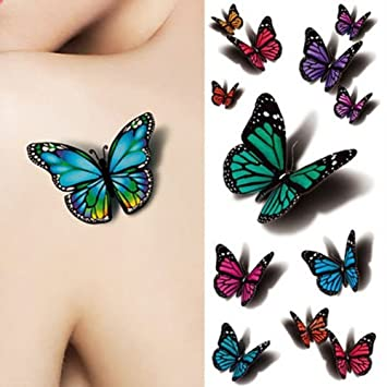 e3568f315 Amazon.com : Born Pretty 1 Sheet 3D Butterfly Tattoo Decals Body Art Decal  Flying Butterfly Waterproof Paper Temporary Tattoo : Beauty