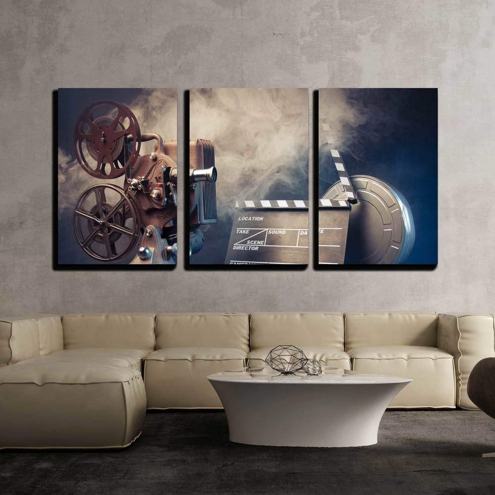 "wall26 - Filmmaking Concept Scene - Canvas Art Wall Decor - 24""x36""x3 Panels"