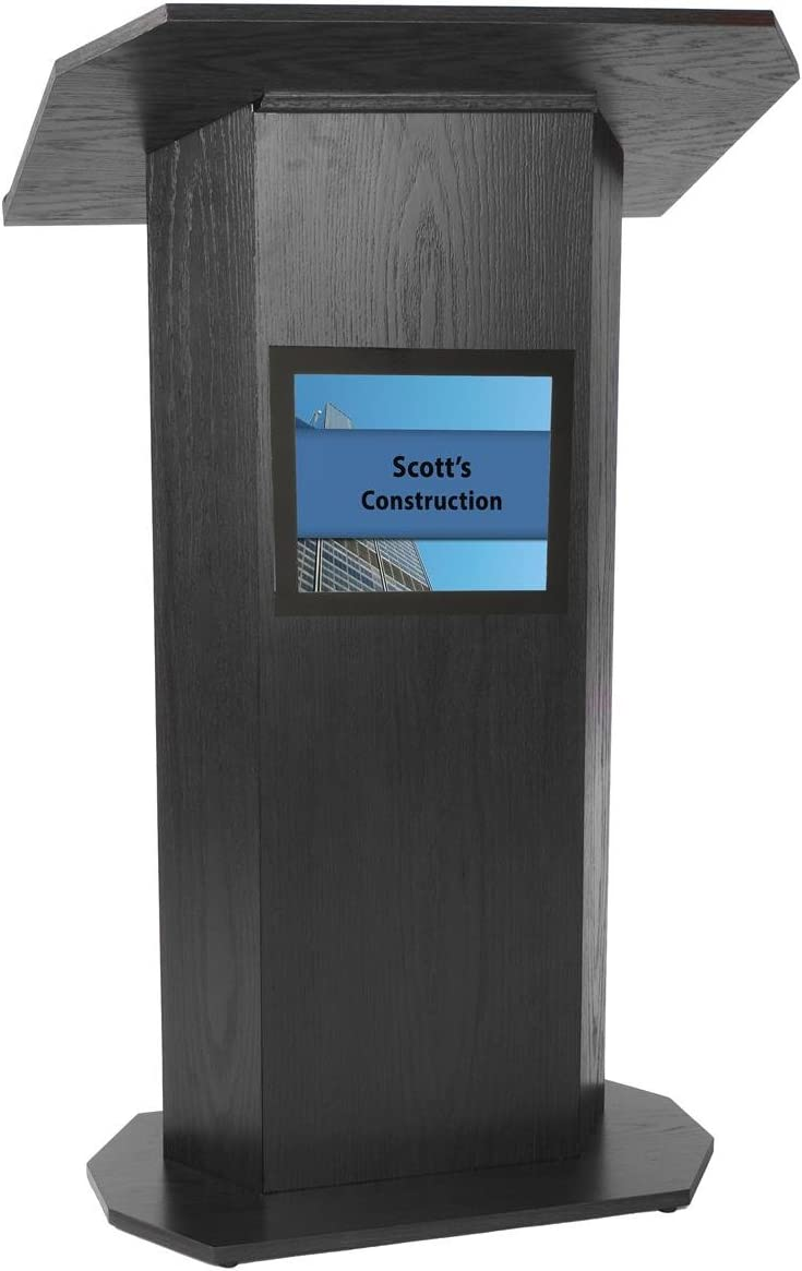 Portable Podium for Floor, with 49 x 30 Inch Shelf 8.5 x 11 Inch Sign Holder, Wood