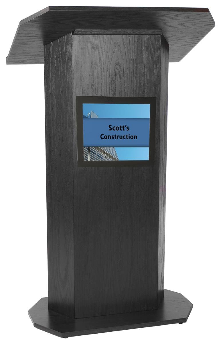 Portable Podium for Floor, with 49 x 30 Inch Shelf & 8.5 x 11 Inch Sign Holder, Wood