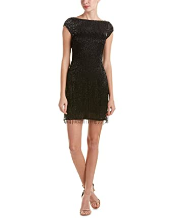 a0d43a506af Aidan Mattox Beaded Fringe Hem Cap Sleeve Cocktail Evening Dress Black