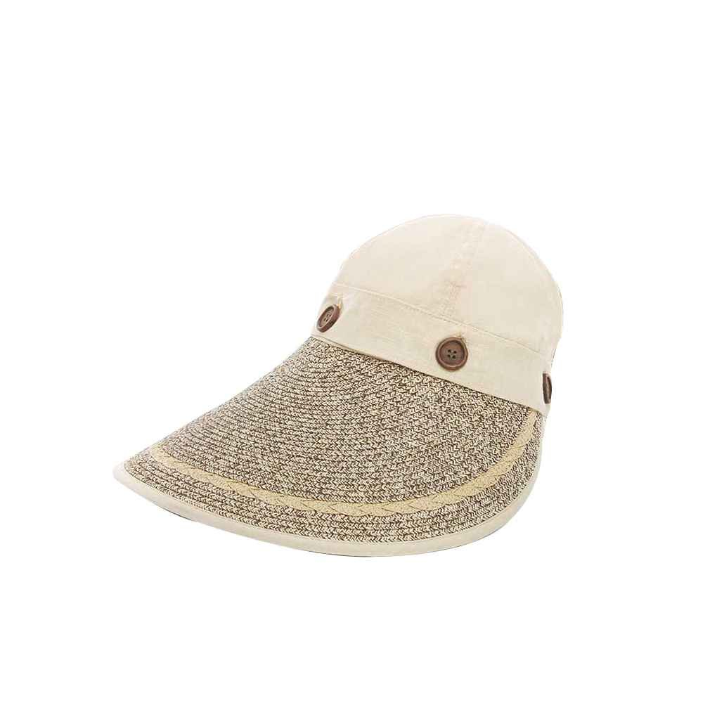 Harmily Outdoor Wide Large Brim Floppy Summer Sunscreen Beach Sun Hat Woven Straw Hat Button Cap Hats