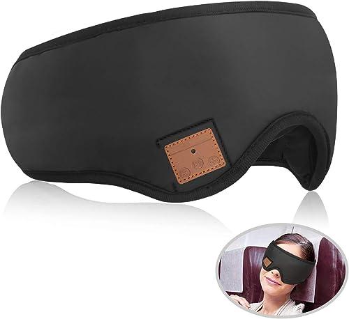 CyanCloud Bluetooth Sleep Mask, Sleep Headphones Eye Mask,Handsfree Adjustable Washable Headphones, Built-in Speakers Microphone, for Air Travel, Sleeping, Meditation, AMSR and Insomnia