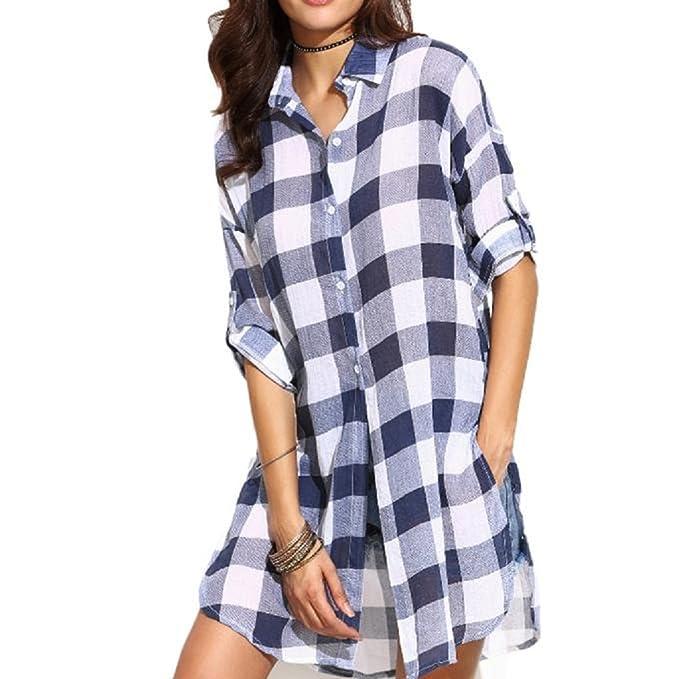Ularma Camiseta para mujeres, Blusa Casual camisa a cuadros de manga larga suelta (M