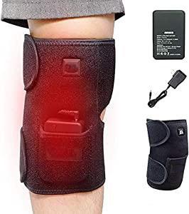 WANZZN Heated Knee Brace Wrap Support/Therapeutic Electric Heating Pad for Knee W/Rechargable 7.4V 4200Mah Battery for Joint Pain, Arthritis Meniscus Pain Relief