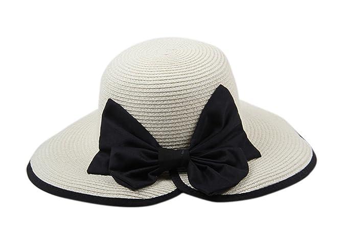Dantiya-moda donna cappello da sole di paglia con arco (beige ... 75b2635ac374